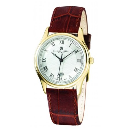 Charles-Hubert- Paris Mens Gold-Plated Stainless Steel Case Quartz Watch #3814-GW - image 1 of 1
