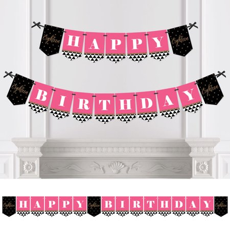 Chic 18th Birthday - Pink, Black and Gold - Birthday Party Bunting Banner - 18th Party Decorations - Happy Birthday (18th Birthday Decoration)