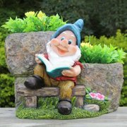 SINTECHNO Cute Gnome Reading Book with Two Flower Planter
