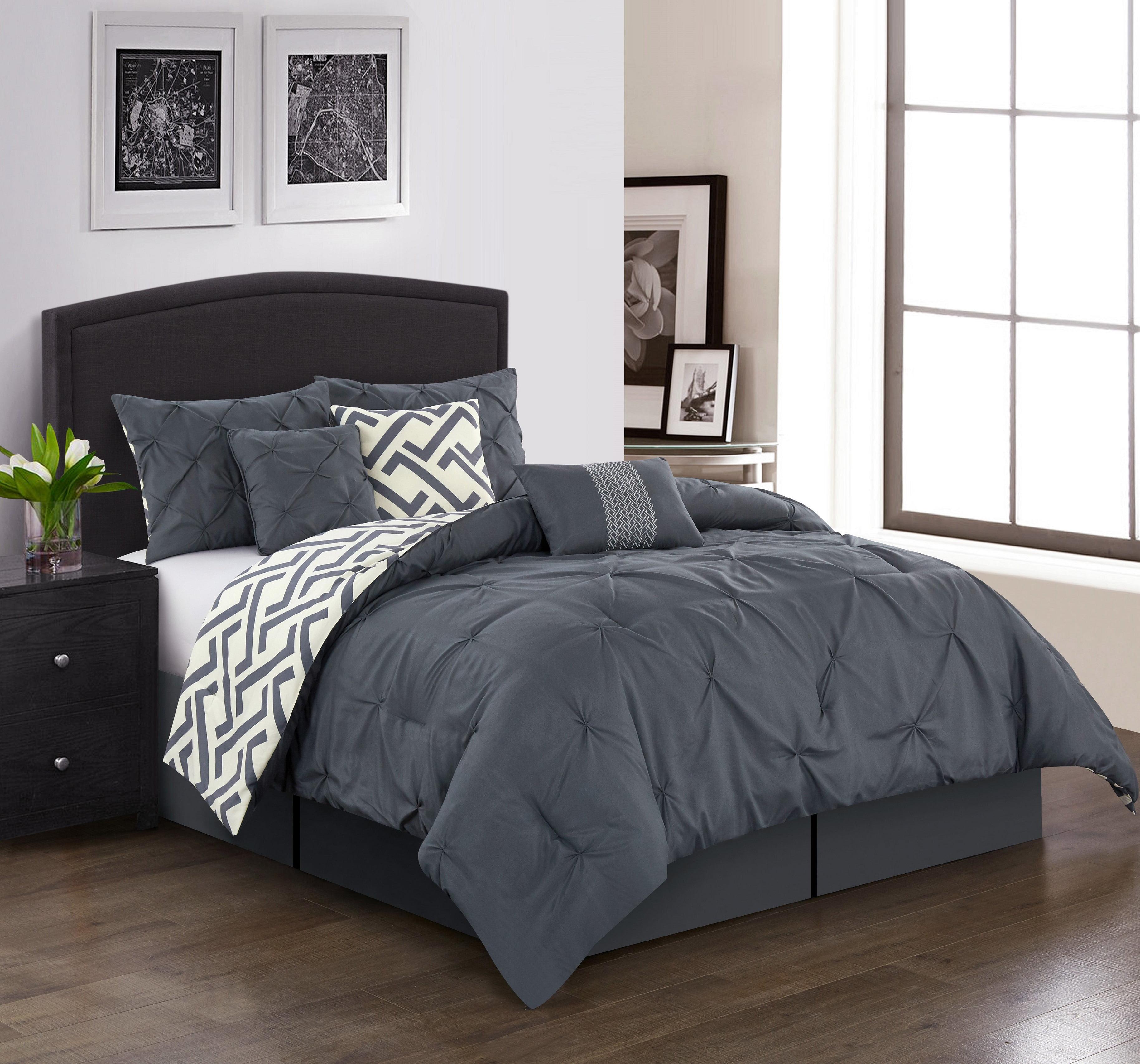 Lanco Liam 7 Piece Reversible Comforter Set Grey Queen Walmart Com Walmart Com