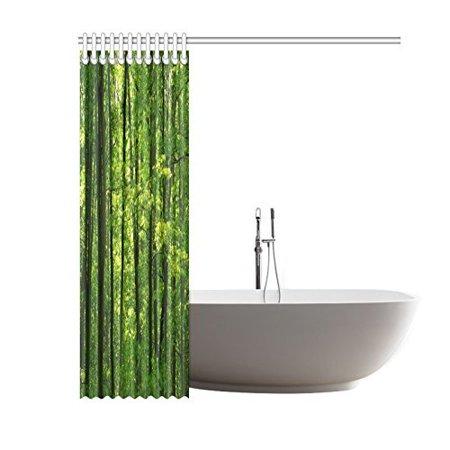 POP Rainforest Trees Shower Curtain Set, Tropical Rainforest Landscape Beautiful Fresh Green Forest Bathroom, Green 60x72 inch - image 1 of 2