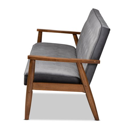 Baxton Studio Sorrento Grey Velvet Upholstered Walnut Wood 3-seater Sofa - image 7 of 9