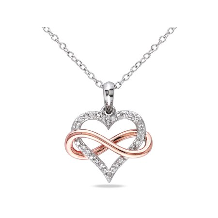Black Diamond Infinity Pendant - Diamond-Accent 2-Tone Sterling Silver Infinity Heart Women's Pendant Necklace, 18