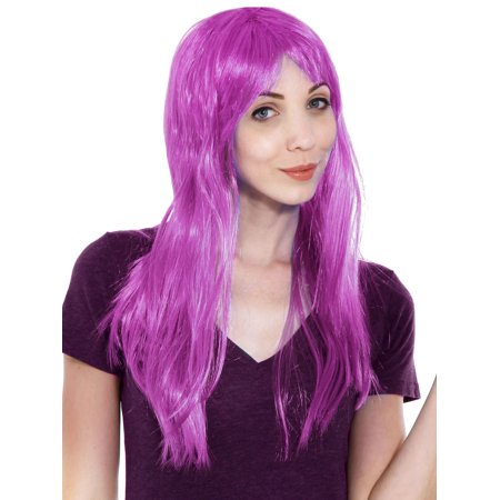 Women's Purple Glamour Costume Party Wig with Bangs - One Size Fits Most - Costume With Wig