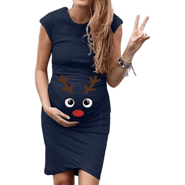 Sysea Women Reindeer Printed Mom Maternity Dress Pregnant Christmas Dress Walmart Com Walmart Com