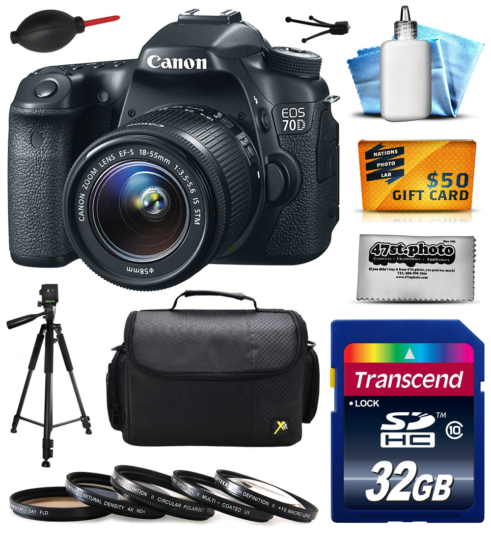 Canon EOS 70D Digital SLR Camera with 18-55mm STM Lens includes 32GB Memory + Large Case + Tripod + 5 Piece UV-CPL-FL-ND4-10x Filters + Dust Blower + Cleaning Kit + $50 Gift Card 8469B009