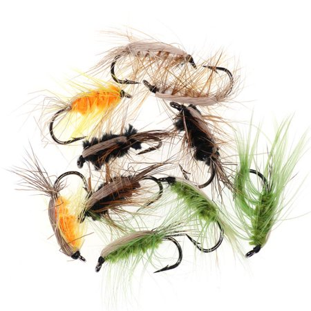 10PCS #6 Insect Bait Trout Flies Barbed Fishhook Woolly Worm Brown Caddis Nymph Fly Deer Hair Beetle Trout Fly Fishing Bait thumbnail