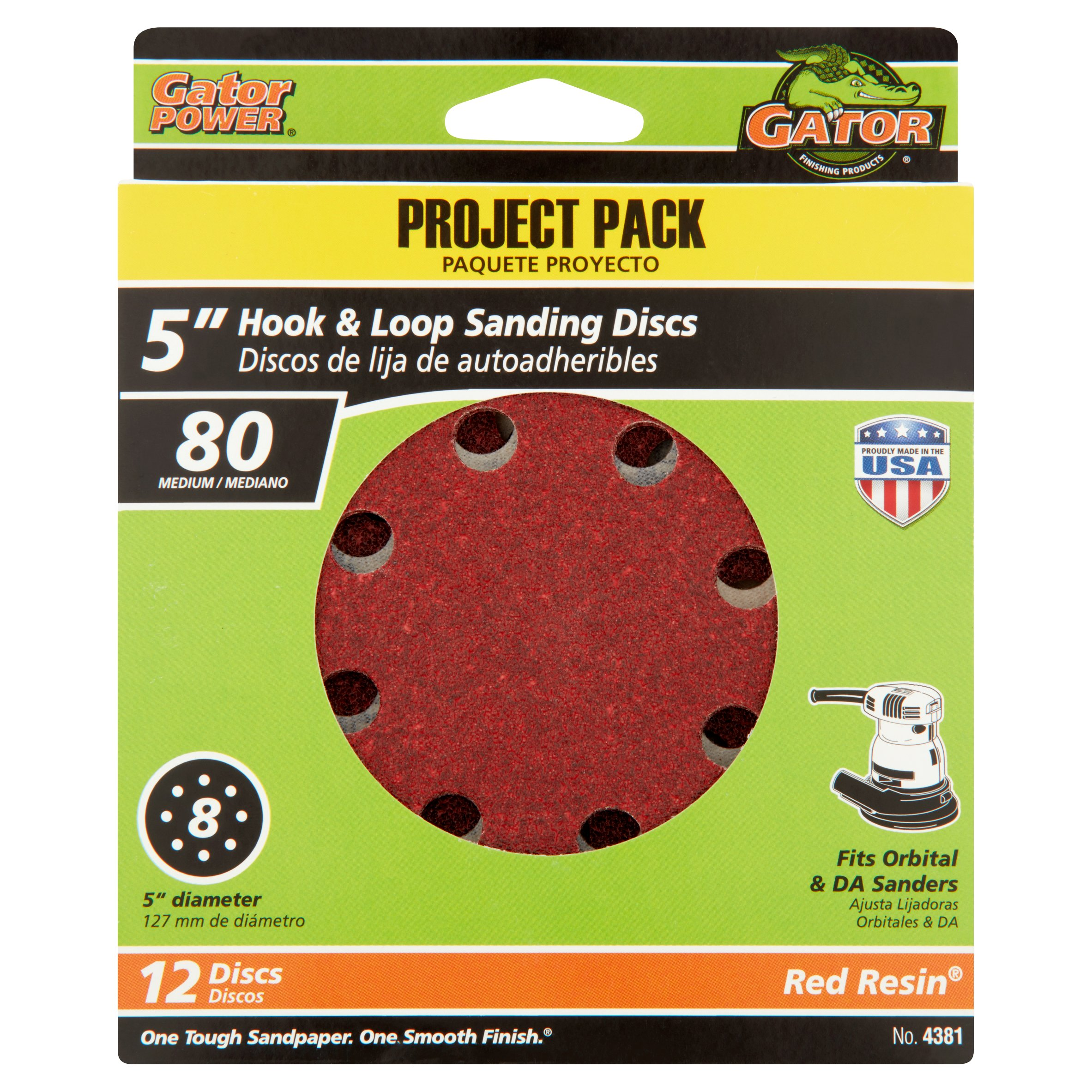 Gator Grit 5-Inch 8-Hole Hook And Loop Sanding Discs, 80 Grit, 12-Pack