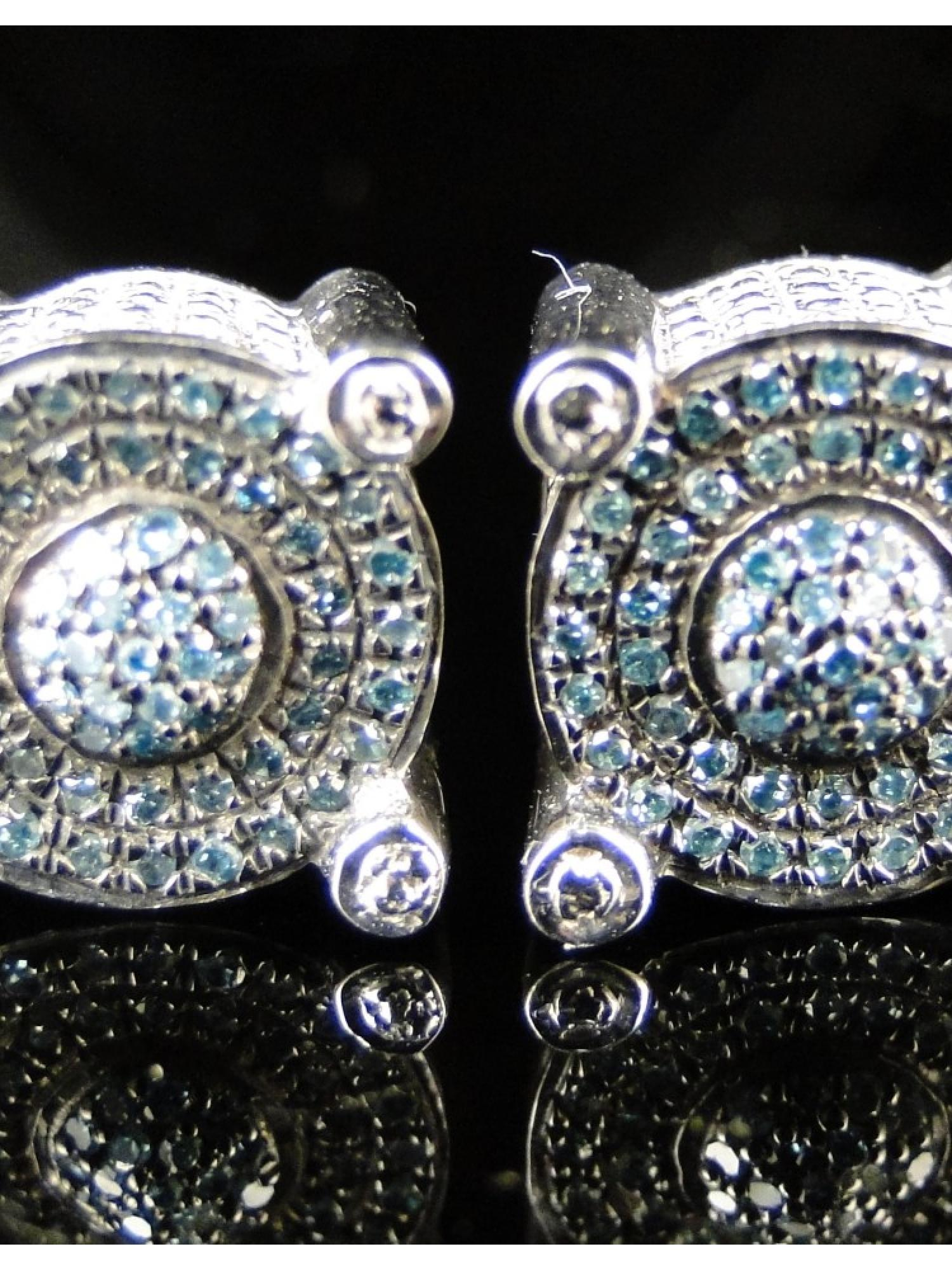 Round White Finish Blue Diamond Prong Studs Earrings by Jewelry Unlimited