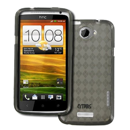 - Empire Smoke Diamond Pattern Flexible Poly Skin Case for HTC One X+