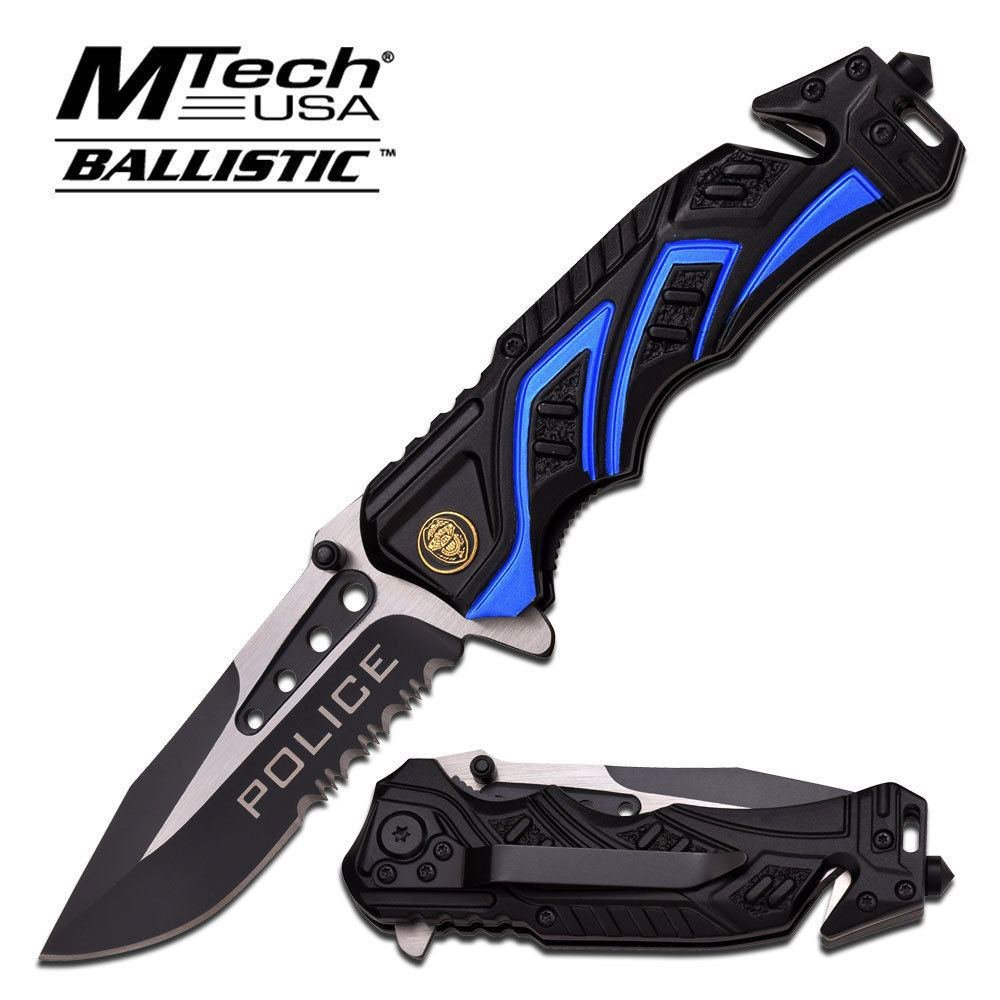 """Brand New 8"""" Police Blue Black SPRING ASSISTED FOLDING KNIFE Blade pocket open switch- Firefighter Rescue Pocket Knife hunting knives,... by"""