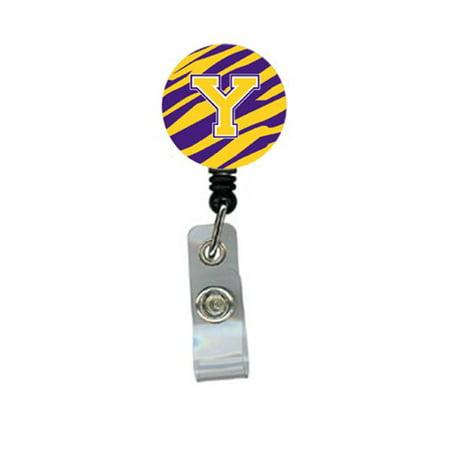 Tiger Stripe - Purple Gold Initial Y Monogram Initial Retractable Badge Reel or ID Holder with Clip - image 1 de 1