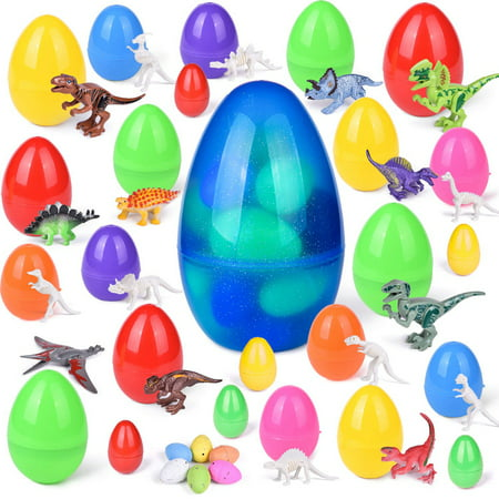 25 PCs Easter Eggs with Dinosaur Toys, Easter Basket Stuffers for Toddlers, Kids,Easter Eggs Fillers for Party Favors, Party Supplies, Goodie Bags and Kids Prizes - Dinosaur Party Games