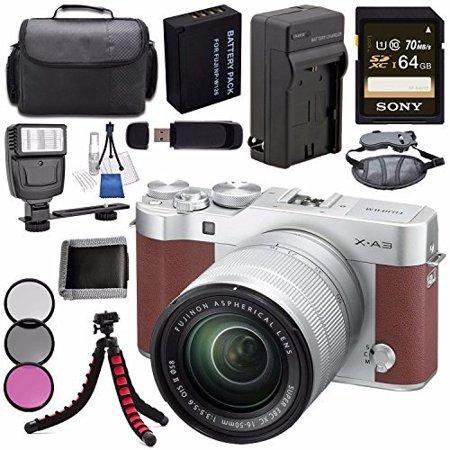 Fujifilm X-A3 Digital Camera w/ 16-50mm Lens (Brown) 16531647 + NP-W126 Lithium Ion Battery + External Rapid Charger + Sony 64GB SDXC Card + Case + Tripod + Flash + Card Reader + Card Wallet