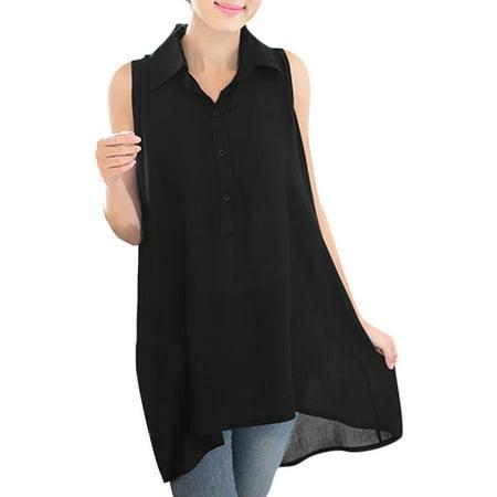 f88c2d55f62073 Women s Semi-sheer Design Asymmetric Hem Black Chiffon Tunic Top XS ...