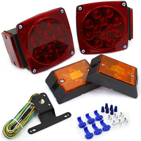 Stark 12 Volt LED Universal Mount Combination Trailer Tail Lights Kit Towing Applications Easy Mount DOT (Testing Trailer Lights With A 12 Volt Battery)