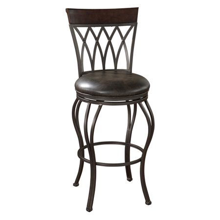 AHB 34 in. Palermo Swivel Bar Stool - Pepper with Tobacco Leather
