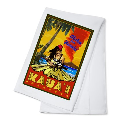 Hula Girl Ukulele (Kauai, Hawaii - Aloha from Hanalei - Hula Girl & Ukulele - Lantern Press Artwork (100% Cotton Kitchen Towel) )