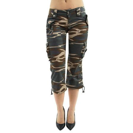 - Women's Juniors Casual Light Weight Camouflage Cargo Capri Shorts