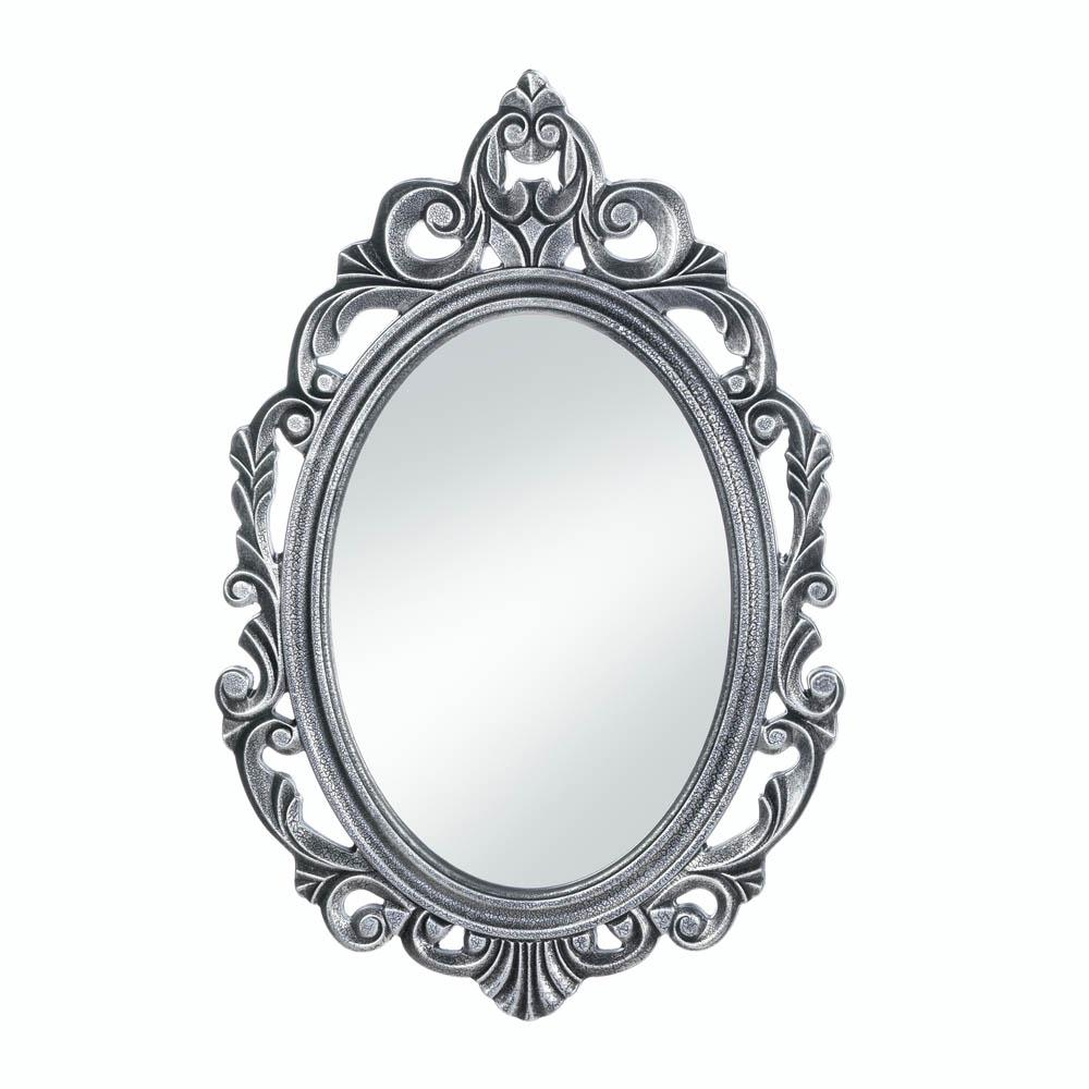 Bathroom Wall Mirrors, Decorative Oval Rustic Silver Royal Crown Wall Mirror