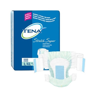 TENA Stretch Super Brief, Large/Extra Large, Heavy Absorbency Night Brief, 67903 - Case of 56
