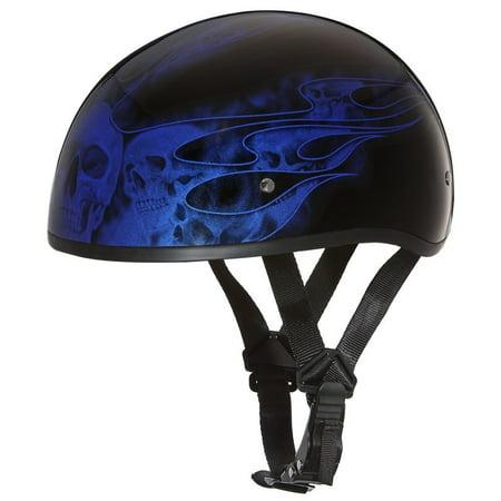 DAYTONA DOT Slim Line Skull Cap 1/2 Half Motorcycle Helmet Graphics 21 Styles