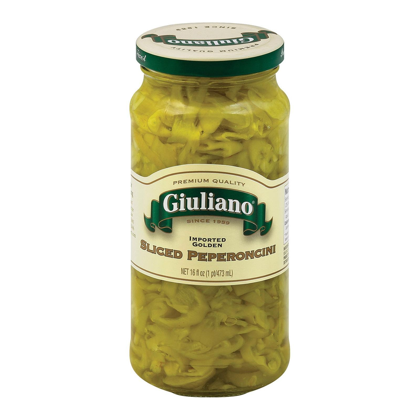 Giuliano's Sliced Pepperoncini - Greek Golden - Pack of 6 - 16 Oz.