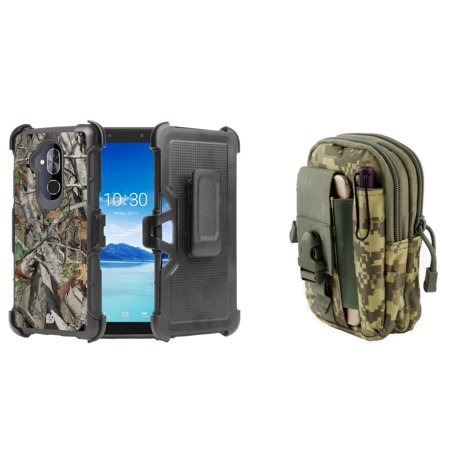 BC Rugged Dual Layer Armor Kickstand Holster Case (Tree Camo) with ACU Camo Tactical EDC MOLLE Waist Bag Holder Pouch and Atom Cloth for Alcatel 7 (MetroPCS) (Treestand Side Bags)