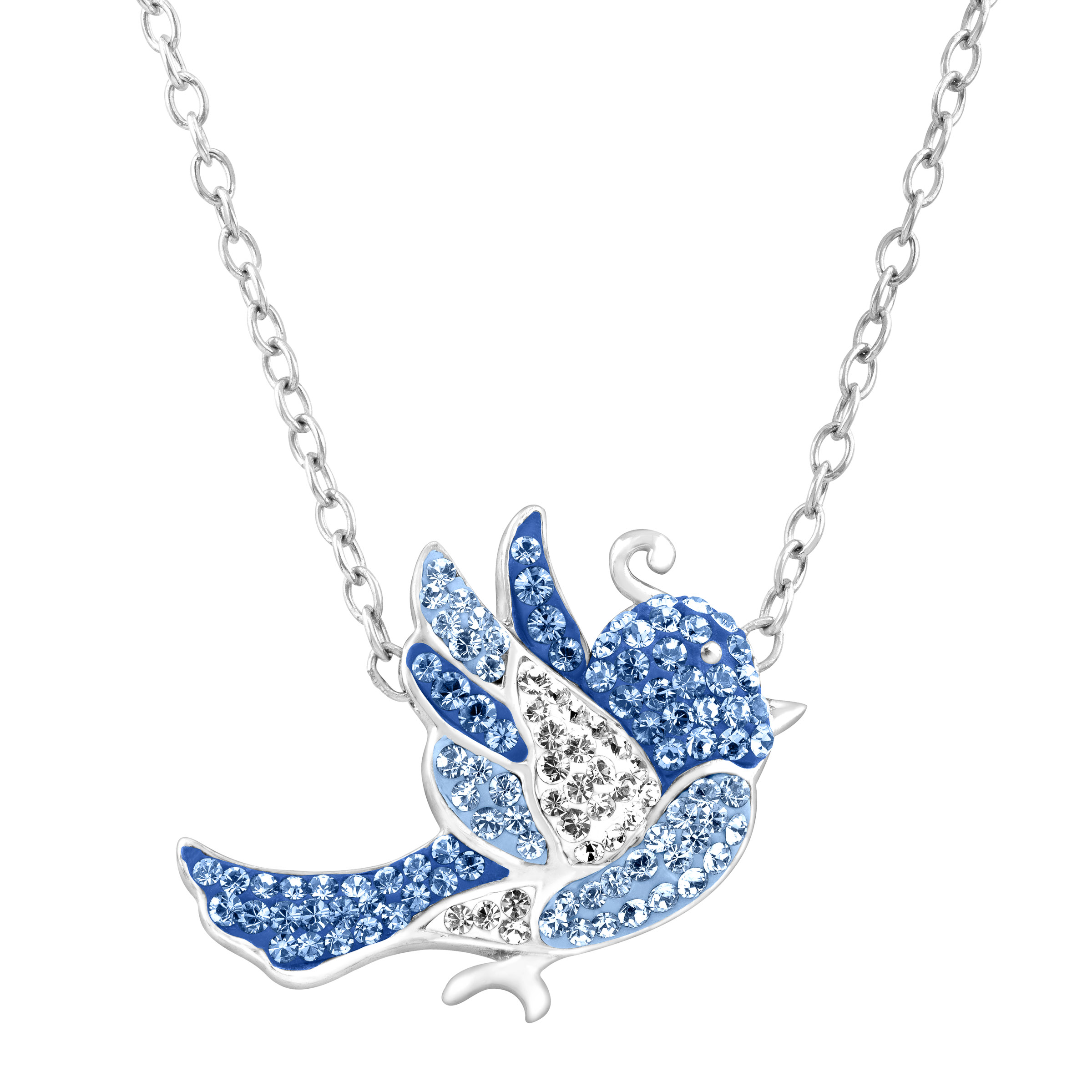 Crystaluxe Bluebird Necklace with Swarovski Crystals in Sterling Silver