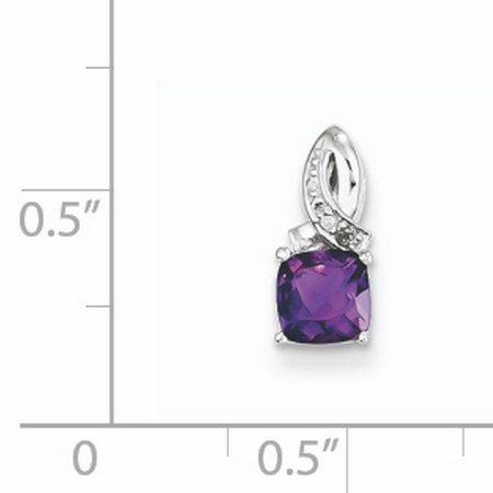 Sterling Silver Rhodium-plated Amethyst Diamond Pendant QP3119AM (mm x mm) - image 1 de 2