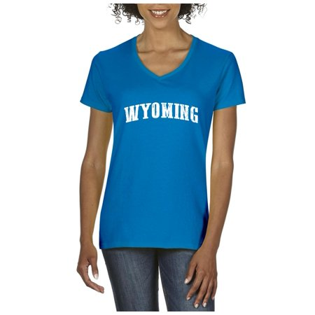 Wyoming State Flag Women V-Neck T-Shirt