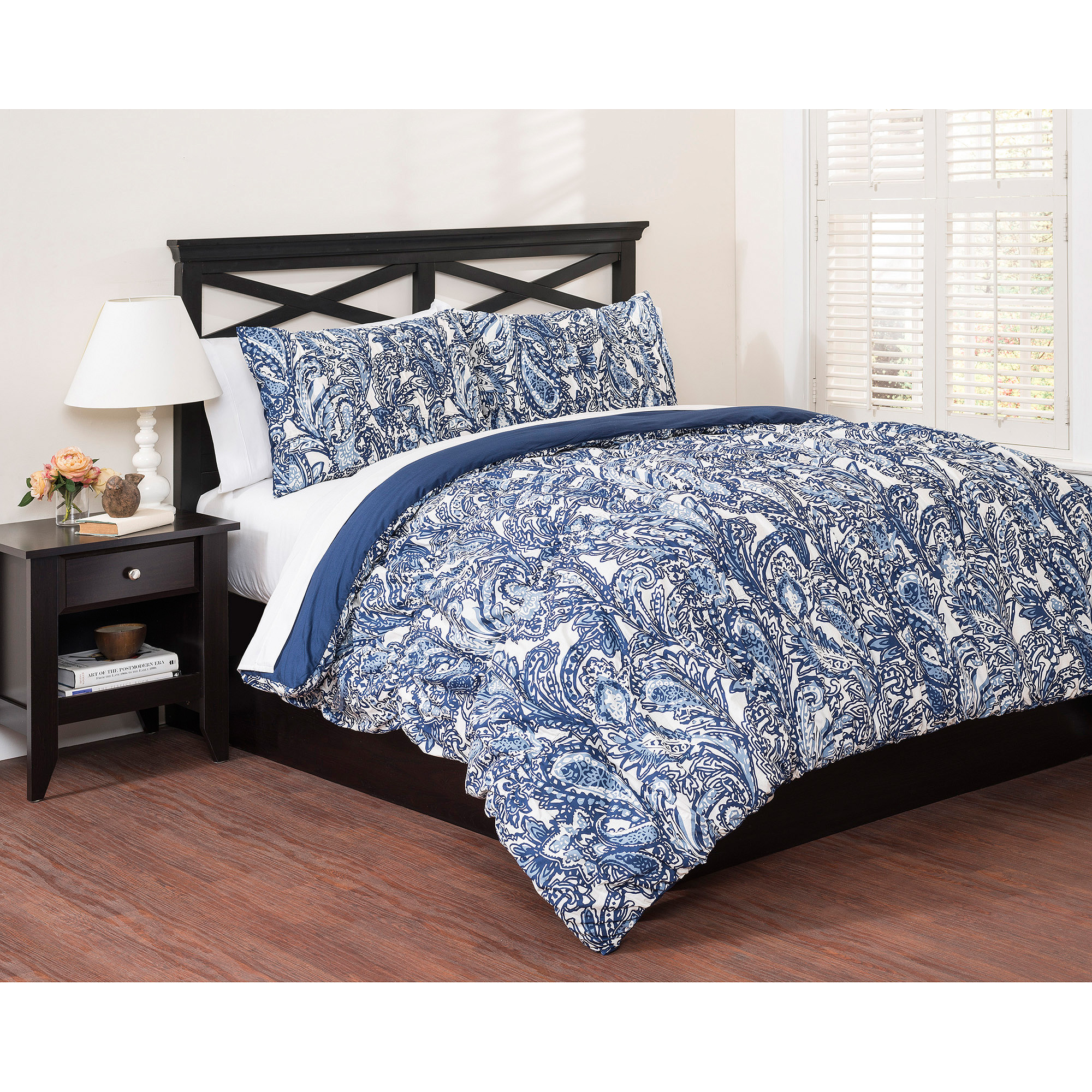 East end living vintage paisley 3 piece bedding duvet set blue