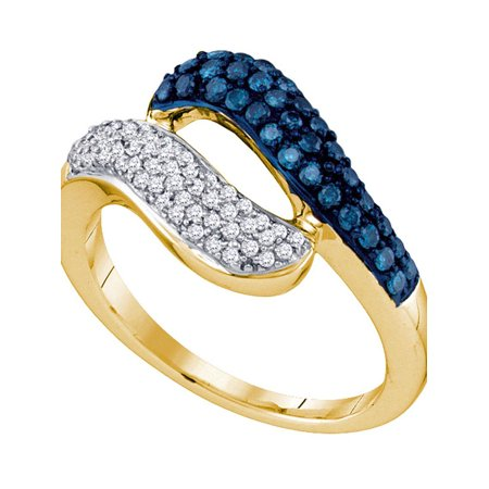 10kt Yellow Gold Womens Round Blue Color Enhanced Diamond Cocktail Ring 1/2 Cttw - image 1 of 1