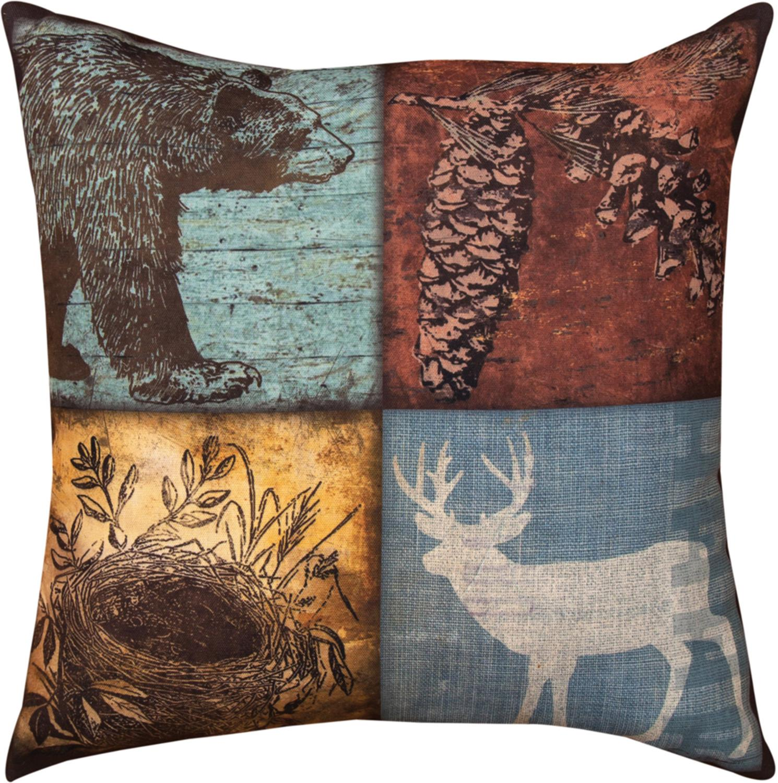 "18"" Cabin Sweet Cabin Bear and Deer Inspired Indoor/Outdoor Quad Image Decorative Pillow"