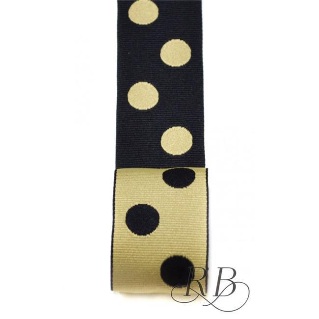 Ribbon Bazaar 4864 1.5 in. Reversible Grosgrain Polka Dots Ribbon, Black Taupe - 20 Yards