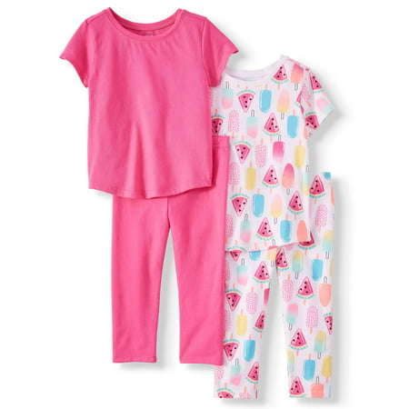 - Garanimals Mix & Match Essential T-Shirts and Capri Leggings, 4pc Outfit Set (Toddler Girls)