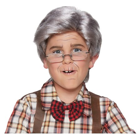 Child Boys Old Man Gray Side Parted Full Looking Wig Halloween Costume Accessory