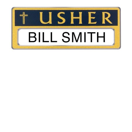 Usher Badge Personalize-able Magnetic Gold Blue Package of 4