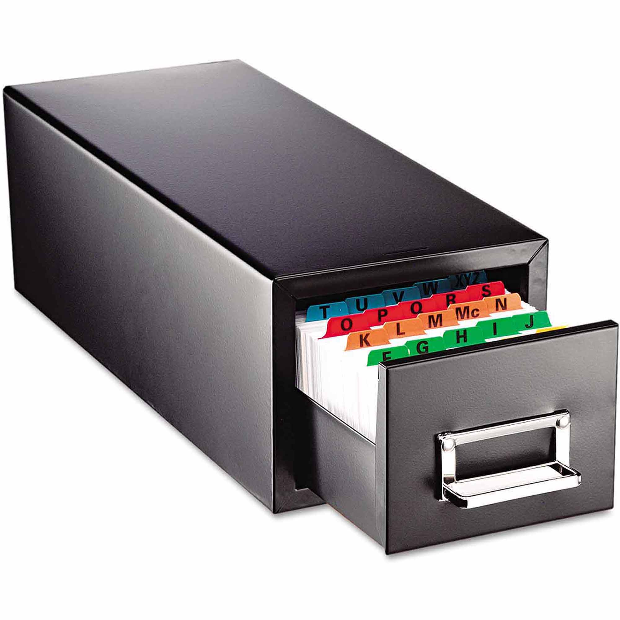 "SteelMaster Drawer Card Cabinet, Holds 1,500 5"" x 8"" cards"