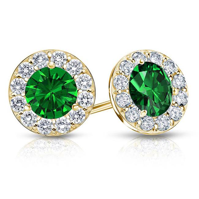 Fine Jewelry Vault UBUERBK200Y14CZE Created Emerald and CZ Halo Stud Earrings in 14K Yellow Gold 2. ct. tw