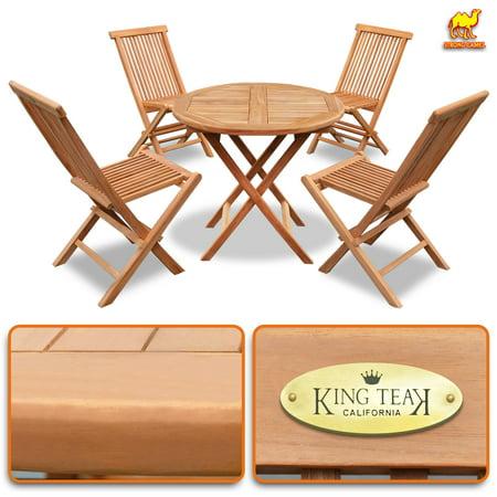 King Teak 4 Piece Golden Teak Wood Folding Chair & 1 Piece Round Table Outdoor Furniture Set Garden Yard Seat