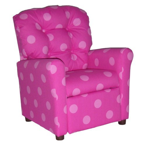 Brazil Furniture 4 Button Back Child Recliner - Candy Pink Oxygen