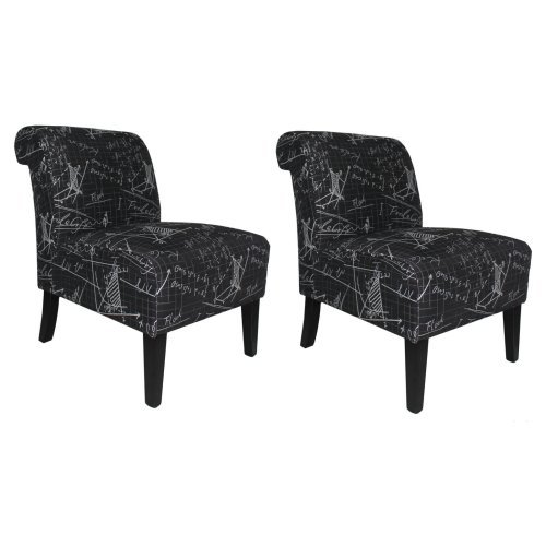 Set Of Two Modern Accent Chairs In Architectural Fabric-Fabric:Black Graphics