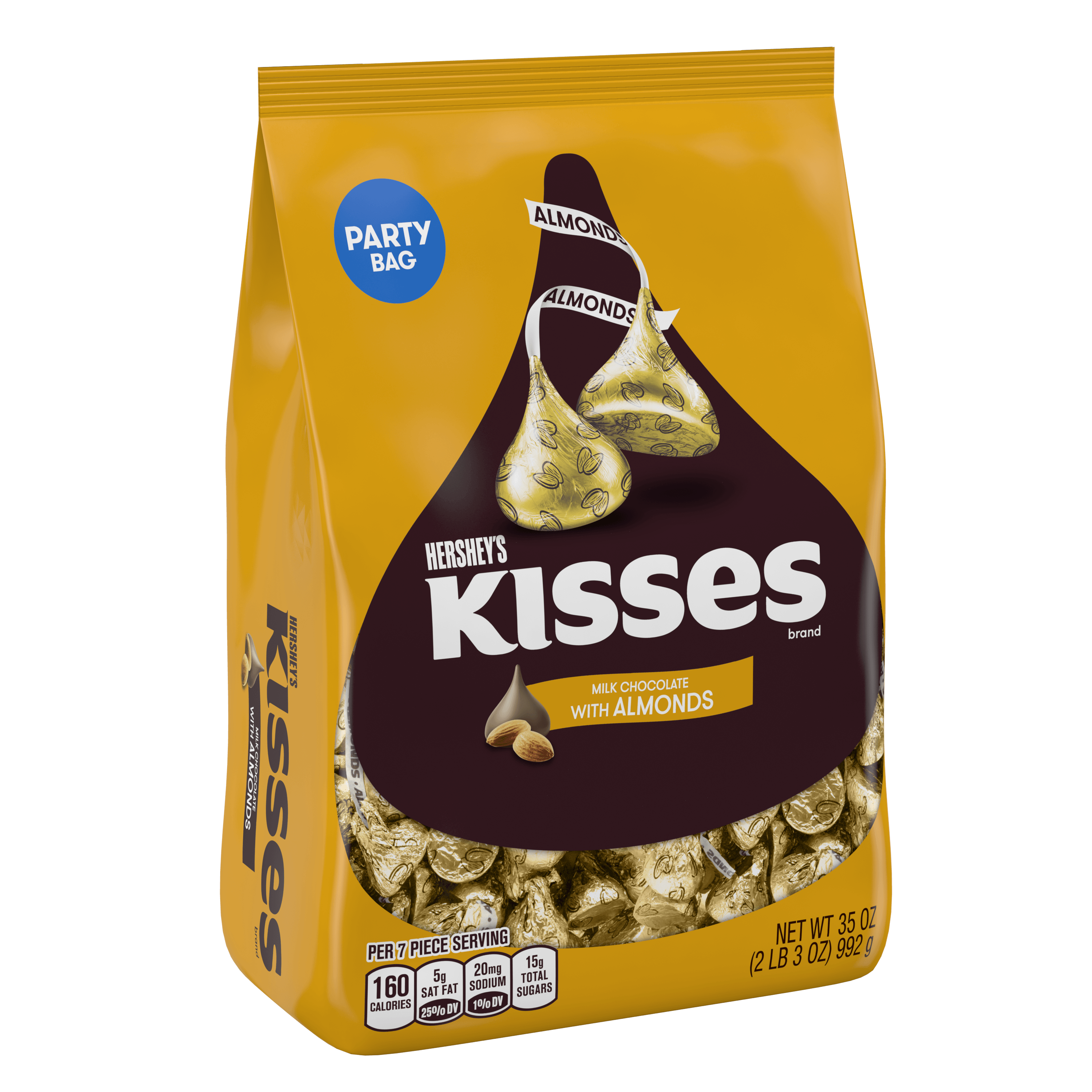 Kisses, Milk Chocolate with Almonds Candy, 35 Oz