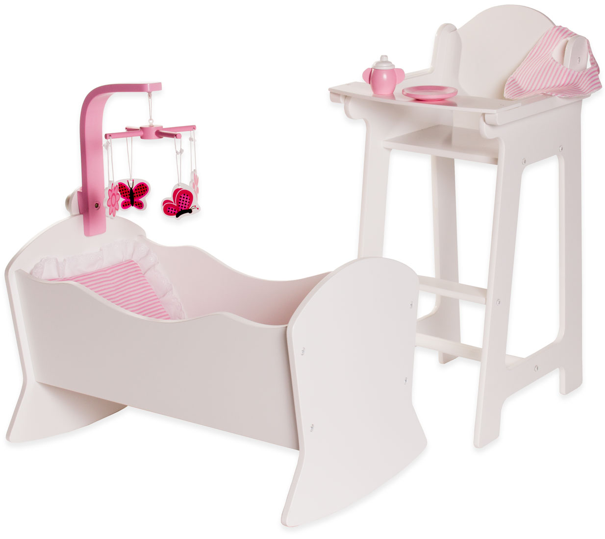 Eimmie 18 Inch Doll Furniture High Chair and Cradle Set with Accessories by