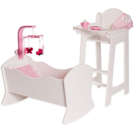 Eimmie 18 Inch Doll Furniture High Chair and Cradle Set with Accessories Doll Cradle High Chair