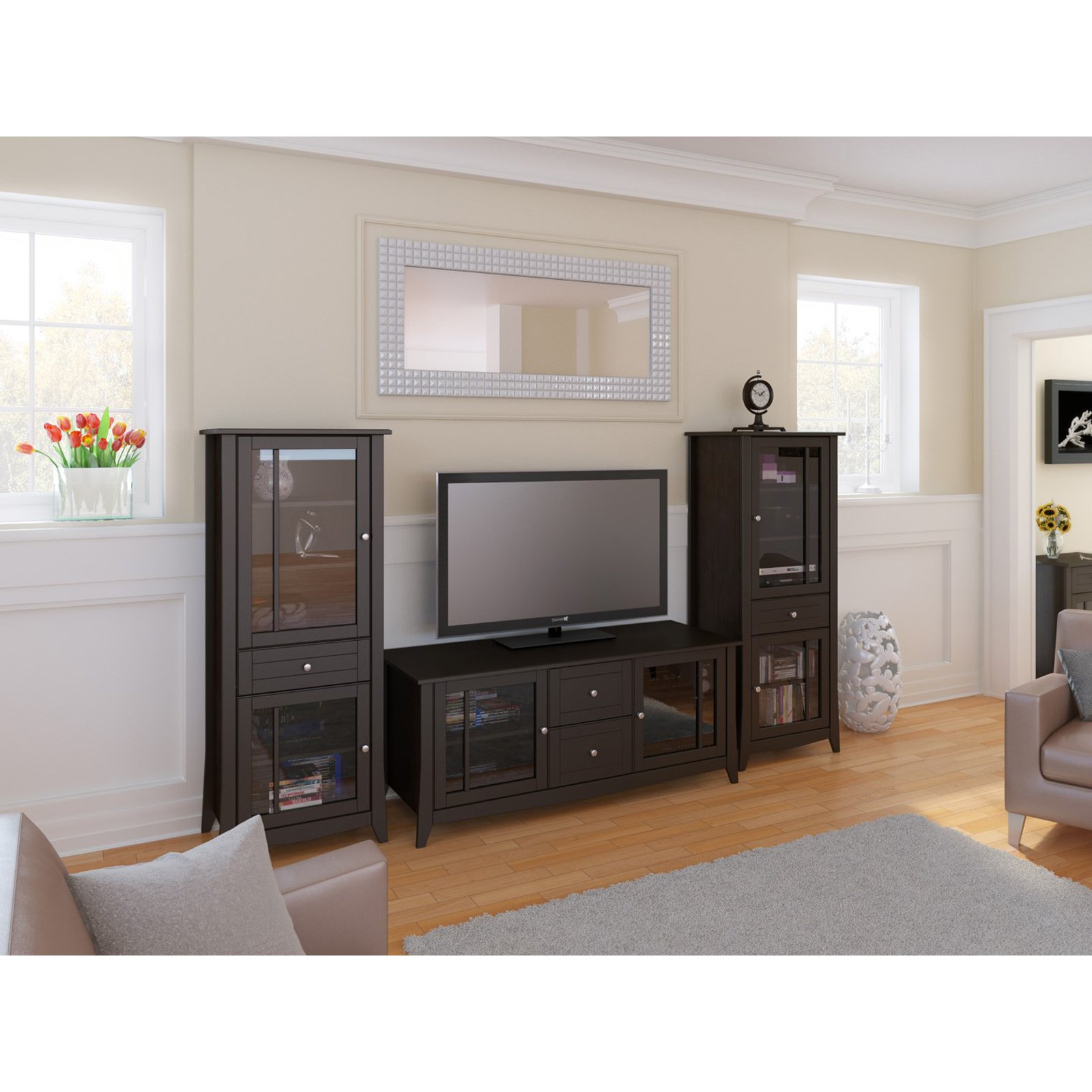 Elegance 58 in. TV Console with Curio Cabinet