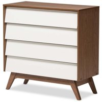 Hawthorne Collection 4 Drawer Chest in White and Walnut Brown