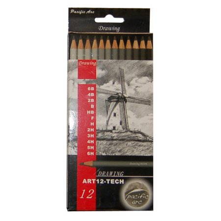 Blue Drawing Pencils - PACIFIC ARC ART12TECH ARTIST DRAWING PENCILS TECHNICAL 12 PIECE SET 6B - 6H