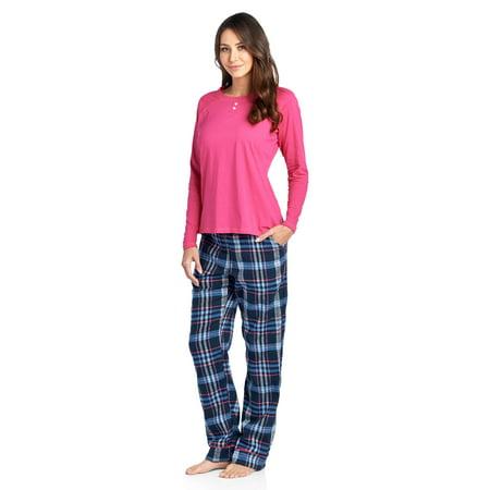 Ashford & Brooks Womens Cotton Long-Sleeve Top and Flannel Bottom Pajama Set - Navy/blue - Large (Sock Monkey Flannel Pajamas)
